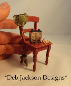 From DJD 12th scale tatty chair and child's by DebJacksonDesigns