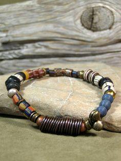 Mens Beaded African Bead Bracelet  by StoneWearDesigns