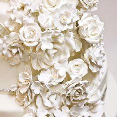 Off white roses & pearl cake Wedding Cake Photos, White Wedding Cakes, Beautiful Wedding Cakes, Gorgeous Cakes, Pretty Cakes, Cream Wedding, Chic Wedding, Wedding Ideas, Chelsea Clinton Wedding