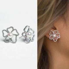 Buy Now Bridal Jewelry Stud Earrings Wedding Jewelry Pearl... Pearl Stud Earrings, Pearl Studs, Pearl Jewelry, Wedding Jewelry, Pearls, Stuff To Buy, Pearl Earrings, Beaded Jewelry, Beads