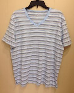 ed1018d35e055 Kim Rogers Blue Yellow White Striped Cotton Knit Tee T-Shirt Top Sz Large L  New