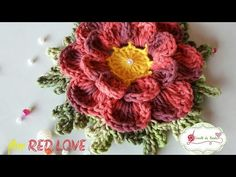 Flor em crochê💖 RED LOVE💖 - YouTube Crochet Flower Tutorial, Crochet Flower Patterns, Crochet Stitches Patterns, Crochet Designs, Stitch Patterns, Freeform Crochet, Crochet Art, Crochet Shawl, Crochet Leaves