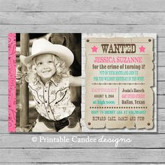 Cowgirl Birthday Invitation  Wanted Poster  DIY by printablecandee, $10.00