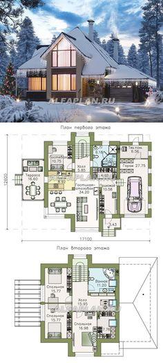 592B-2 «Альтаир» - современный мансардный дом с гаражом. Общая площадь - 211.9 м2. Alfaplan.ru