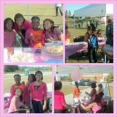 Our ROSES were asked to help run the PINK BAKE SALE during our football game to help raise money for Breast cancer awareness.