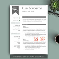 Teacher Resume Template. Creative Resume by VisionTemplates