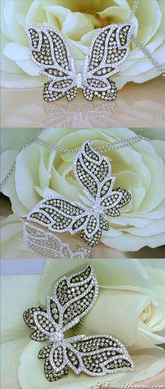 Fabulous Butterfly Pendant with Natural Brown & White Diamonds, 2.48 ct. WG-18k - Like: https://www.facebook.com/Noble-Juwelen-150871984924926/