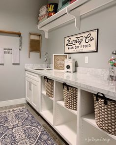 Farmhouse Laundry Room Bright and beautiful laundry room by - Our Metal Laundry Co Sign fits in perfectly! Farmhouse Laundry Room Bright and beautiful laundry room by - Our Metal Laundry Co Sign fits in perfectly! Mudroom Laundry Room, Laundry Room Remodel, Farmhouse Laundry Room, Laundry Room Organization, Laundry Room Design, Bathroom Storage, Laundry Decor, Laundry Room With Cabinets, Laundry Room Makeovers