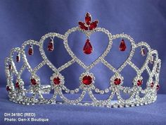 Red Crystal Bridal Tiara Silver Crown Pageant Prom Party Quinceanera Queen 3418   eBay