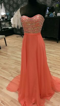 Sweetheart Orange Long Prom Dress,Evening Dress ,Charming Evening Gown,Prom Dresses,BG78