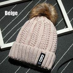 Cute Women Girls Soft Wool Knit Cap Pompom Beanie Crochet Large Ball Bobble Ski Autumn Winter Warm Adjistable Hat 2016 New