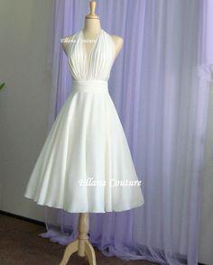 Liliana Retro Inspired Tea Length Wedding Dress. by EllanaCouture
