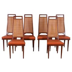 Set of Six Mid-Century Cane-Back Dining Chairs by Urban Furniture | From a unique collection of antique and modern dining room chairs at https://www.1stdibs.com/furniture/seating/dining-room-chairs/