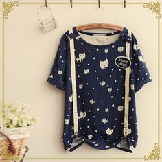 Cheap Fresh Mori Girl Lovely Kitten Dot Suspenders Cotton T-Shirt For Big Sale!Fresh Mori Girl Lovely Kitten Dot Suspenders Cotton T-Shirt