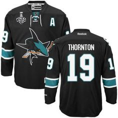 Men's San Jose Sharks #19 Joe Thornton Black Third 2016 Stanley Cup NHL Finals A Patch Jersey