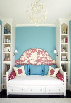 Fun color scheme, narrow built-ins flanking bed. Large headboard, reading lamps. Great idea for a small room.  Could add a trundle under bed for guests.  Design by Massucco Warner Miller....... would love to do this for one of the girls rooms!