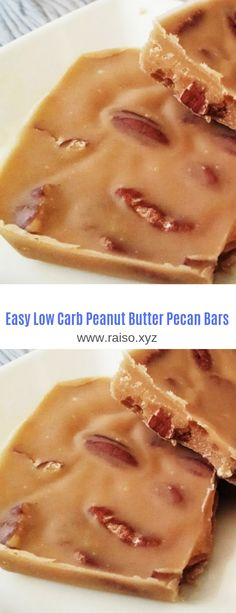 Easy Low Carb Peanut Butter Pecan Bars #Low Carb#Peanut Butter#Dessert