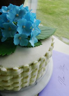 My grandmother's birthday cake. Topped with a gum paste hydrangea.
