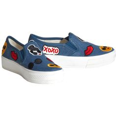 Alice + Olivia Pia Emoji Light Blue Denim Sneaker (€175) ❤ liked on Polyvore featuring shoes, sneakers, pull on shoes, light blue shoes, denim sneakers, denim footwear and alice olivia shoes