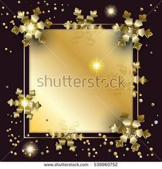 Merry Christmas and Happy New Year luxury greeting card background with glitter, snowfall, sparkle, gold snowflakes and confetti. Christmas decoration, magic light effect, vector frame. Winter Holiday