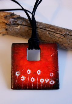 Polymer Clay Pendant: Sunset Meadow
