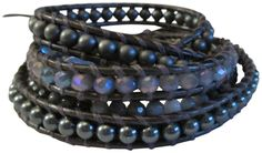 """Chan Luu Black Grey and Silver Crystal Mix On Natural Black Leather Wrap Bracelet. Chan Luu wrap bracelet , a natural black leather strand frames an assortment of beads that include semi precious stones and crystal nuggets. sterling silver Chan Luu engraved curved oval button with 3 adjustable closures that measures approximately 30"""" / 32"""" / 34"""" in length. wraps around the wrist approx: 5x's , 4mm beads. image may be enlarged to show detail - please refer to product dimensions for actual..."""