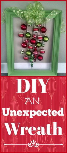 This is definitely an unexpected wreath. You can use any wood frame and paint it the color of your choice, then just add complimenting ornaments. It's easy! Christmas Makes, Noel Christmas, Christmas Wreaths, Christmas Decorations, Christmas Ideas, Christmas Inspiration, Handmade Christmas Crafts, Paper Crafts, Diy Crafts