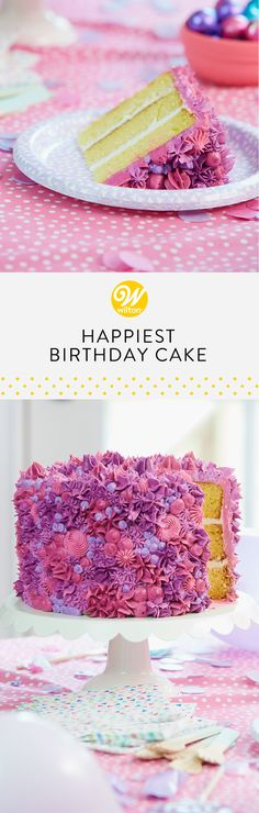 Use your favorite tips and techniques to cover this three-layer cake from head to toe in buttercream frosting. Choose your favorite blend of colors and be inspired to bake the happiest birthday cake ever! #wiltoncakes #birthday #birthdaypartyideas #birthdaycake #birthdaycakeideas #birthdaydesserts #birthdaytreatstotaketoschool #birthdaythemes #birthdaytreats #birthdaytreatsforschool #birthdayideas #birthdaypartyfood #birthdaykids #classicbirthdaycakes