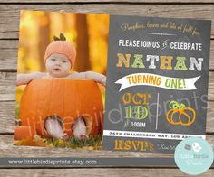 PUMPKIN INVITATION First birthday Chalkboard Printable -  Fall Birthday Party --- Autumn Fall Harvest Theme Birthday Party with Photo on Etsy, $16.50