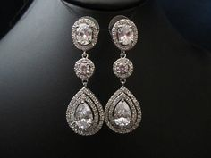 3 stone bridal earrings wedding earrings tear drop/pear cubic zirconia earrings dangle earring, wedding jewelry bridal Jewelry on Etsy, $62.00