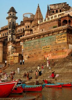 Varanasi, India. Just behind these Ghats was the best bakery ever and a tiny yoga studio. Also around the corner we had Bhang Lassis ;)