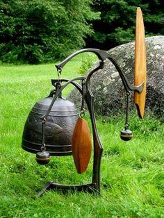 Dick Fisher Bell Sculptures - Wind Bell with fish motif, 2004 Metal Projects, Welding Projects, Dreamcatchers, Sculpture Metal, Mobile Sculpture, Bell Gardens, Yard Sculptures, Metal Garden Art, Kinetic Art