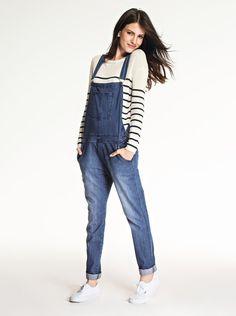 Macac o feminino longo decote em v com bolsos lavagem for Jardineira jeans feminina c a