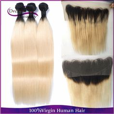 T1b/613 Two Tone Blonde Ombre Malaysian Virgin Hair Straight 3pcs With 13x4 Lace Frontal Human Hair Unprocessed Hair Bundles