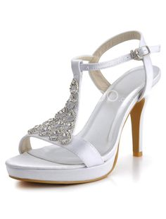 Elegantpark Ivory Womens Open Toe T Strap Rhinestones Stiletto Heel Platform Satin Bride Wedding Sandals US 11 >>> More info could be found at the image url. (This is an affiliate link) Wedding Sandals For Bride, Outdoor Wedding Dress, Bridal Sandals, Cute Wedding Dress, Fall Wedding Dresses, Colored Wedding Dresses, Dream Wedding, Gold Wedding, Perfect Wedding