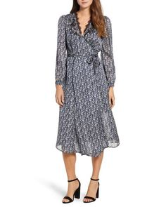 5336725925 Lucky Brand - Multicolor Printed Midi Wrap Dress - Lyst Work Dresses For  Women