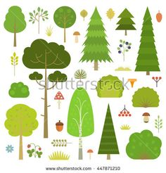 Set of flat vector forest elements: trees, spruce, pine, grass, mushrooms, moss, berries, grass and bushes isolated on transparent…