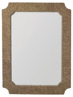 Surrounded by a notched frame with woven jute, this oversize wall mirror adds incredible texture and cool, coastal appeal to the room. Oversized Wall Mirrors, Rustic Wall Mirrors, Round Wall Mirror, Mirror Art, Family Room Design, Dining Room Design, Natural Mirrors, Mirror Texture, Golden Pattern