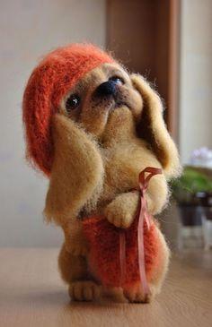 OOAK Puppy Genevieve Wool Sculpture Needle Felted Handmade | eBay