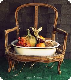 Old chair fall arrangement.  LOVE IT!