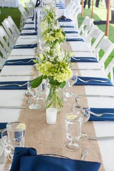 Crisp white + blue wedding color palette | Burlap Decor | #PreppyWeddings {Kristen Jane Photography}