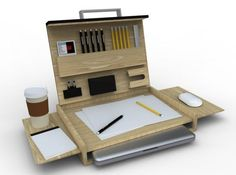Mobile workstation complete with pencil storage and slot for storing the laptop…
