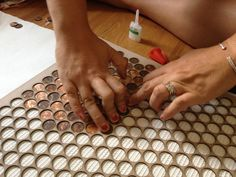 """Copper Floor Penny Tile Jigs For Sale We made these custom jigs for making 18""x16"" tiles of pennies for our floors. When we posted photos awhile ago, a lot of people wrote asking if they could buy..."""