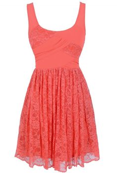 Tracy Chiffon and Lace Dress in Coral