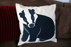 Badger Throw Pillow Cover by georgiamars on Etsy
