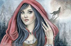 """Red Riding Hood"" by Janna Prosvirina  Auction: https://www.facebook.com/TheRabbitHoleArtistCollective/photos/a.1578251152391710.1073741885.1429942497222577/1578289922387833/?type=3&theater  Facebook Page: https://www.facebook.com/pages/Janna-Prosvirina-Fantasy-Art/291309360888025"
