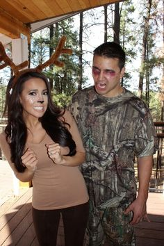 Hallowen Costume Couples Community Post: 16 Deer Makeup And Antler Ideas For The Cutest Halloween Costume Deer Halloween Makeup, Deer Halloween Costumes, Cute Halloween Costumes, Couple Halloween, Holidays Halloween, Diy Costumes, Costume Ideas, Couple Costumes, Diy Reindeer Costume