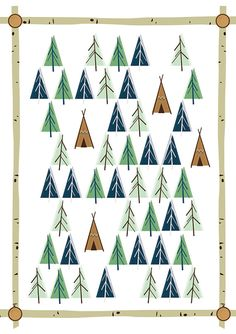 cabin collection - midcentury 50's modernist woodland teepee native birch log poster