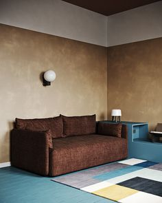 Extraordinary colourful apartment living room brown fabric couch // cgi visualization by Yaroslav Priadka. This rendering was done by Autodesk Max, Corona Renderer & Adobe Photoshop. 3d Living Room, Living Area, Living Spaces, 3d Interior Design, Interior Styling, 3d Max Vray, Colorful Apartment, Tiny Furniture, 3d Models