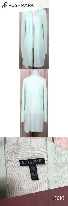 """Eileen Fisher Tencel duster cardigan in mint green Petite Eileen Fisher Tencel duster cardigan in mint green. Beautifully slinky movement, 100% tencel plant-based fabric, lightweight for layering, knee to calf length (depending on height). 5"""" split at sides at hem for even more movement. EUC, no flaws. I just can't explain how gorgeous this cardi is!! Approximate measurements provided in photos. OFFERS ENCOURAGED!  Tags: light, layer, vegan, recyclable, designer, girly, weekend, casual…"""
